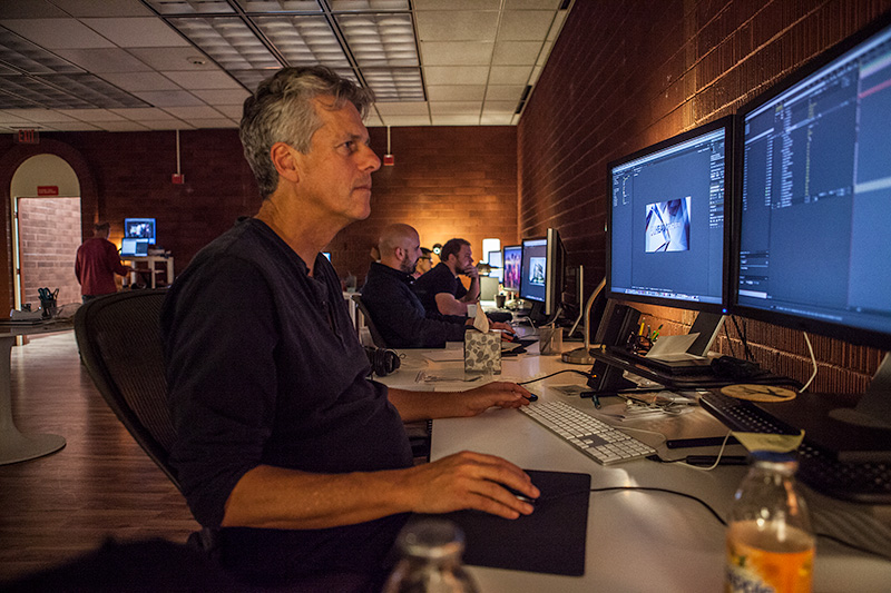 Swordfish Senior Creative Dean Foster designing motion graphics in Adobe After Effects CC with the help of the new Cinema4D integration